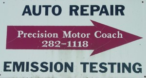Follow the Red Arrow to Precision Motor Coach in South Windsor, CT 06074! Our auto repair shop is in the building in the back!